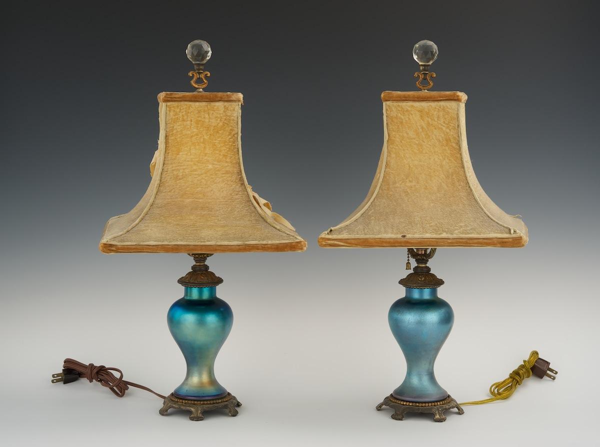 A Pair Of Steuben Blue Aurene Boudoir Lamps
