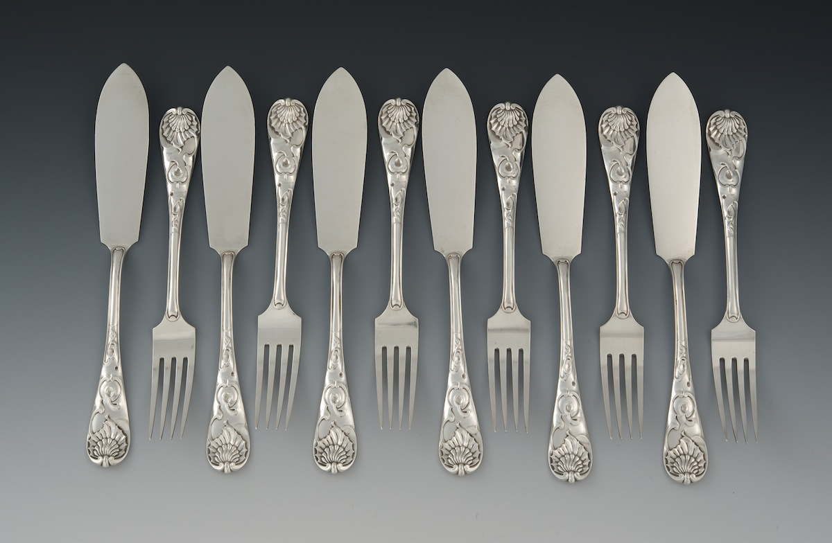 a set of antique english sterling silver fish knives and forks by a set of antique english sterling silver fish knives and forks by william higgins london