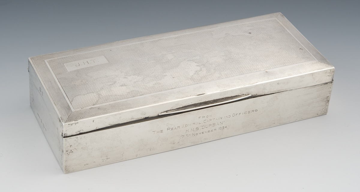 a sterling silver humidor box with engraved dedication  by harman brothers  birmingham  england