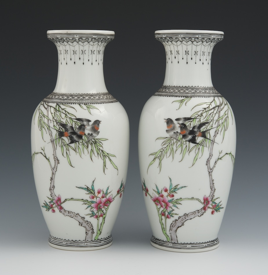 A Pair Of Chinese Porcelain Mirror Image Vases Finely Enameled By Liu Yucen 1904 1969 Jing De