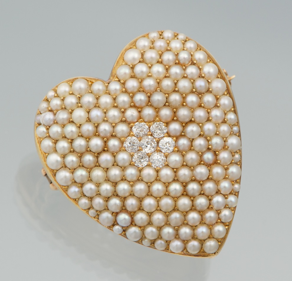 An Antique Seed Pearl And Diamond Heart Brooch By Krementz & Co