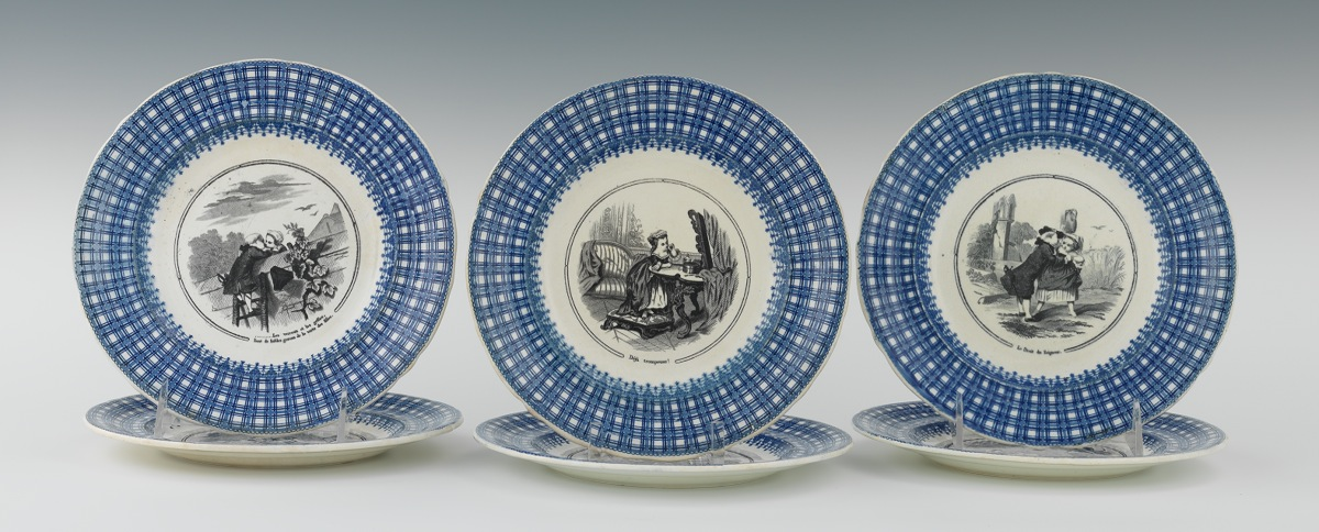 Six French Porcelain Story Plates 19th Century & Six French Porcelain Story Plates 19th Century 09.01.11 Sold: $109.25