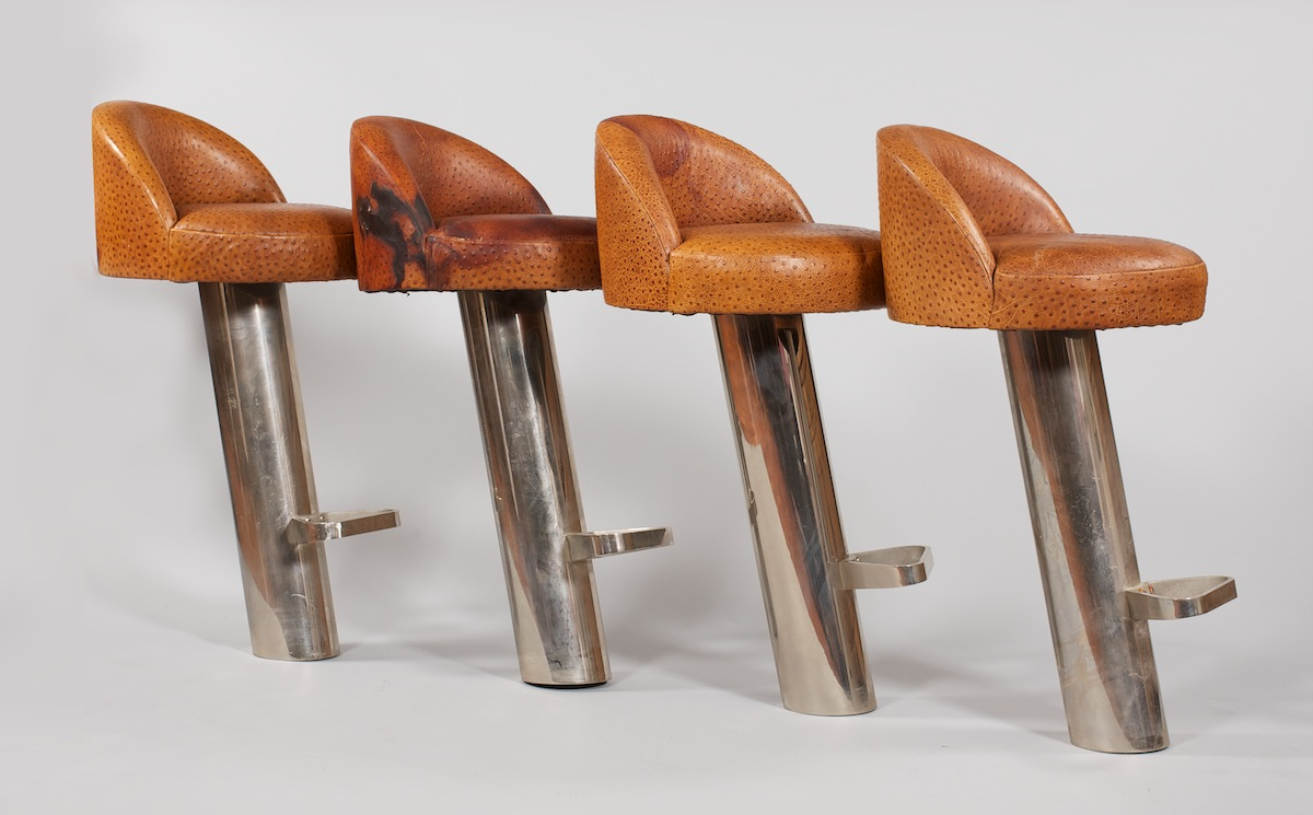 Beautiful Four Karl Springer Modern Bar Stools