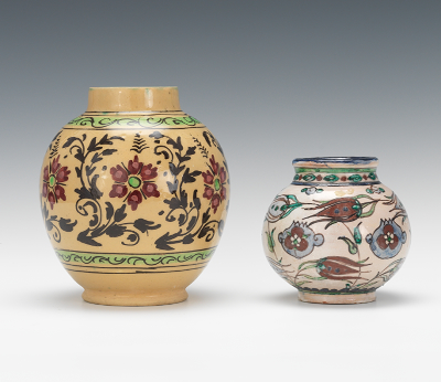 Two Persian Pottery Vases 20th Century 12 13 12 Sold