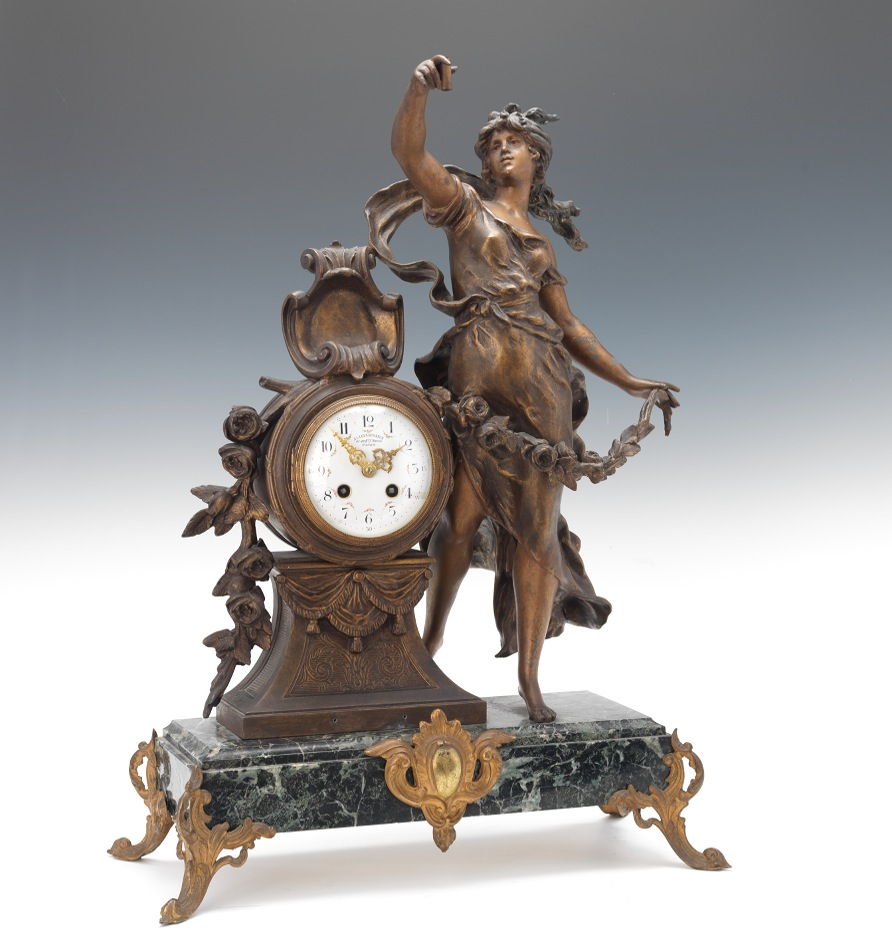 Monumental French Marble Gilt Figural Clock Singed Moreau