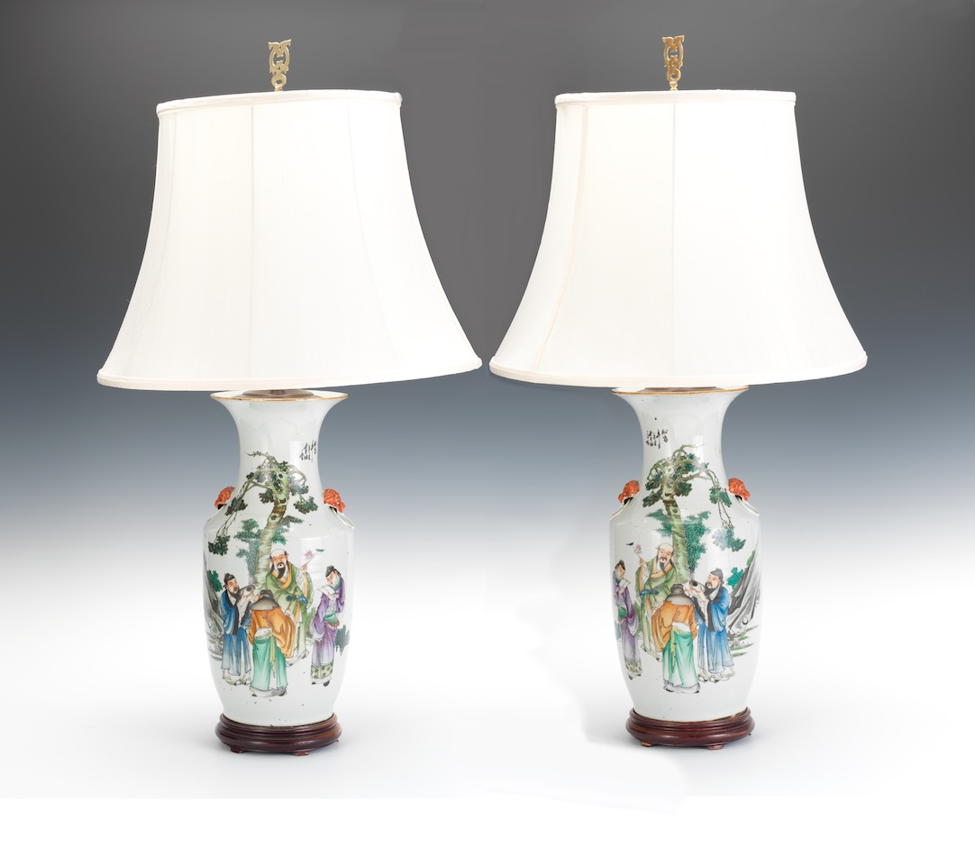 A Large Pair Of Chinese Porcelain Vase Lamps And Lamp