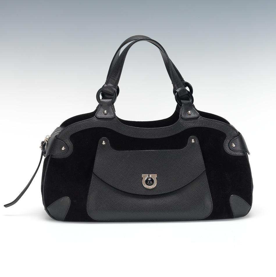 Designer Bags   Accessories. A Salvatore Ferragamo Suede and Leather Handbag fa12176024