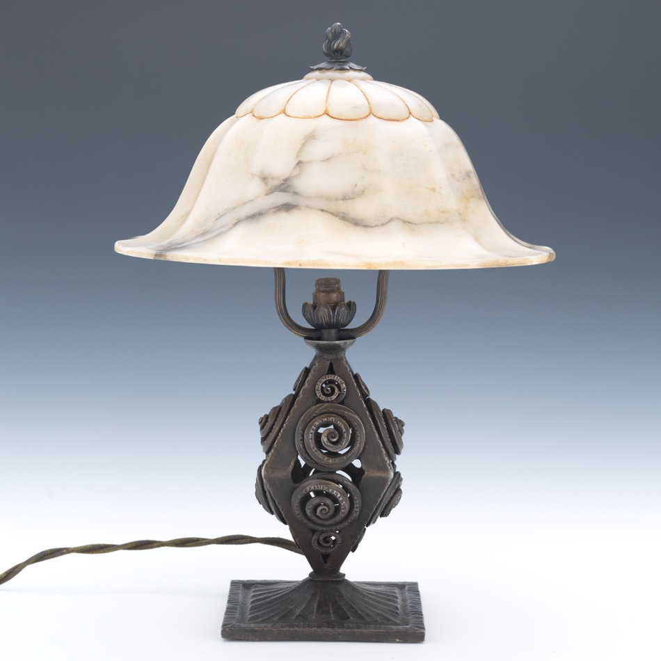 A louis katona style lamp with alabaster shade 121312 a louis katona style lamp with alabaster shade aloadofball