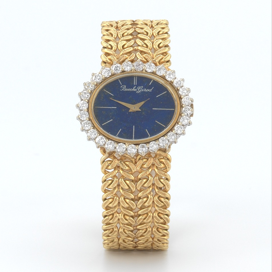 A Ladies Bueche Girod 18k Gold Diamond And Lapis Watch