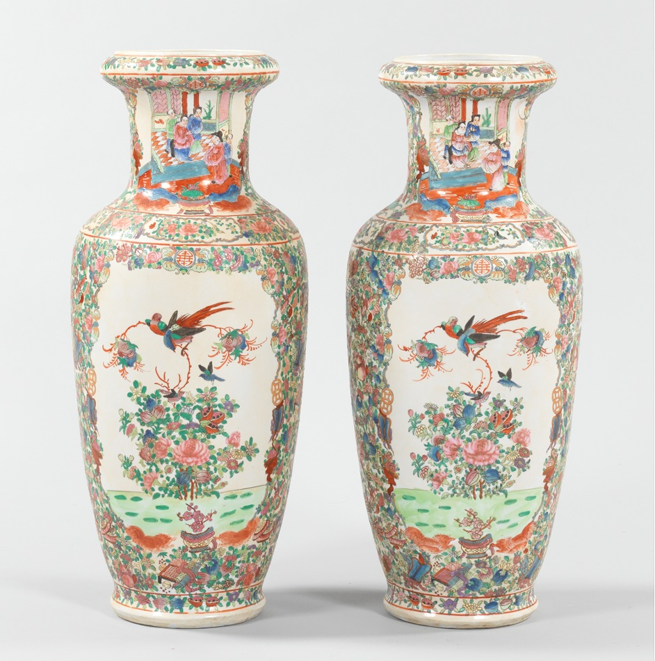 a pair of large famille rose floor vases chinese sold 552. Black Bedroom Furniture Sets. Home Design Ideas