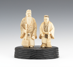 Japanese ivory aspire auctions a pair of carved ivory longevity gods japanese late 19th century mozeypictures Images