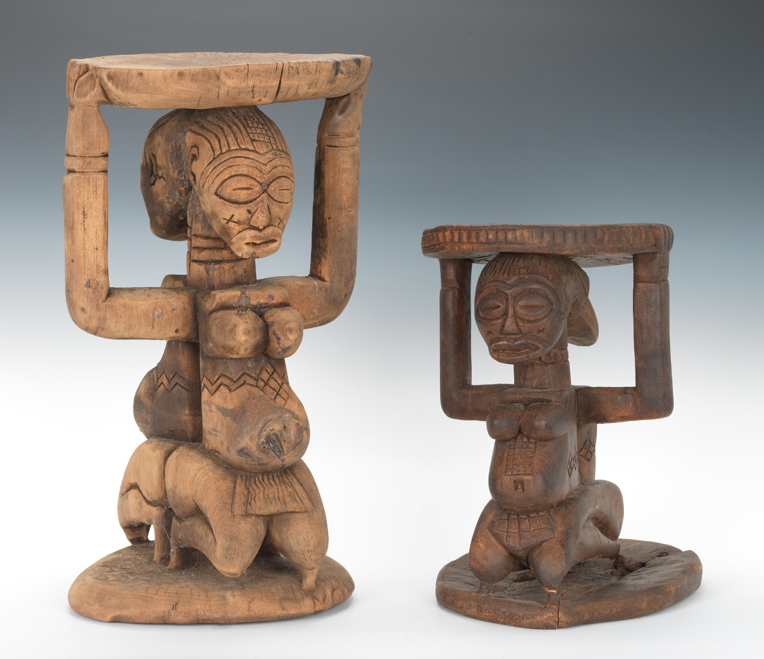 A Pair Of West African Congo Wooden Stools, 03.30.12, Sold