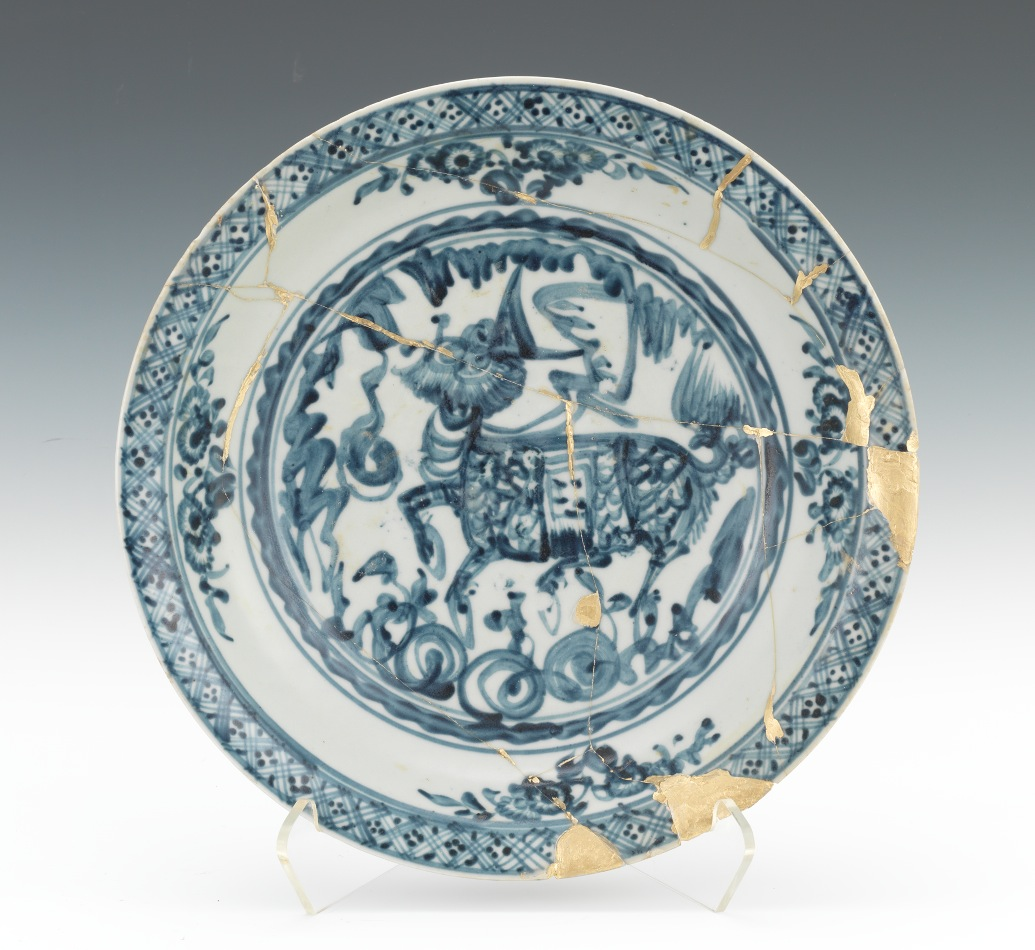 A Blue and White Ming Charger with Kintsugi Repair