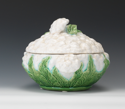 A Majolica Cauliflower Tureen Lid Underplate And Ladle