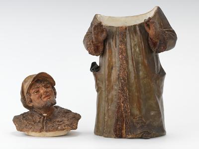 A Monochrome Full Figure Tobacco Jar Of Man in Coat, 05.26 ...
