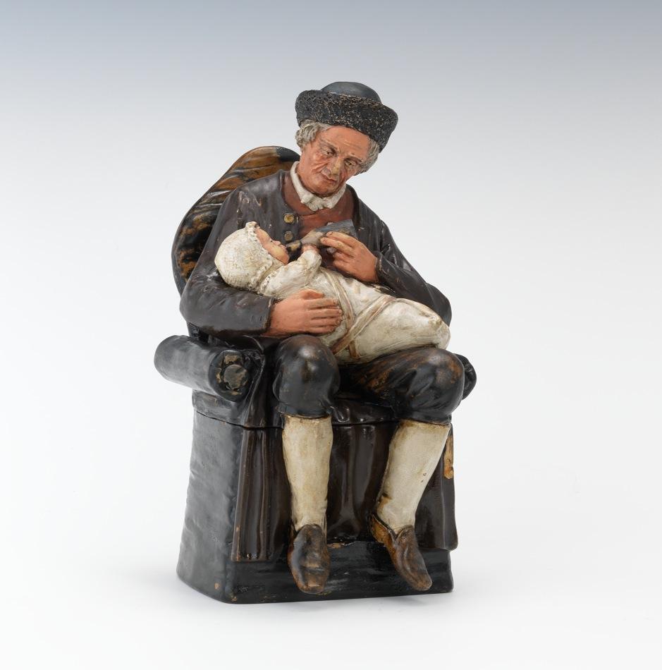 Bernard Bloch Figural Tobacco Jar Grandfather And Baby