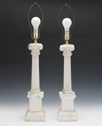 A Pair Of White Marble Lamp Bases
