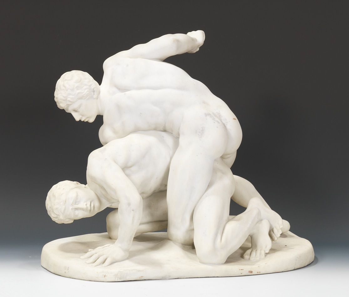 White Marble Statue : A large carved white marble sculpture of the wrestlers