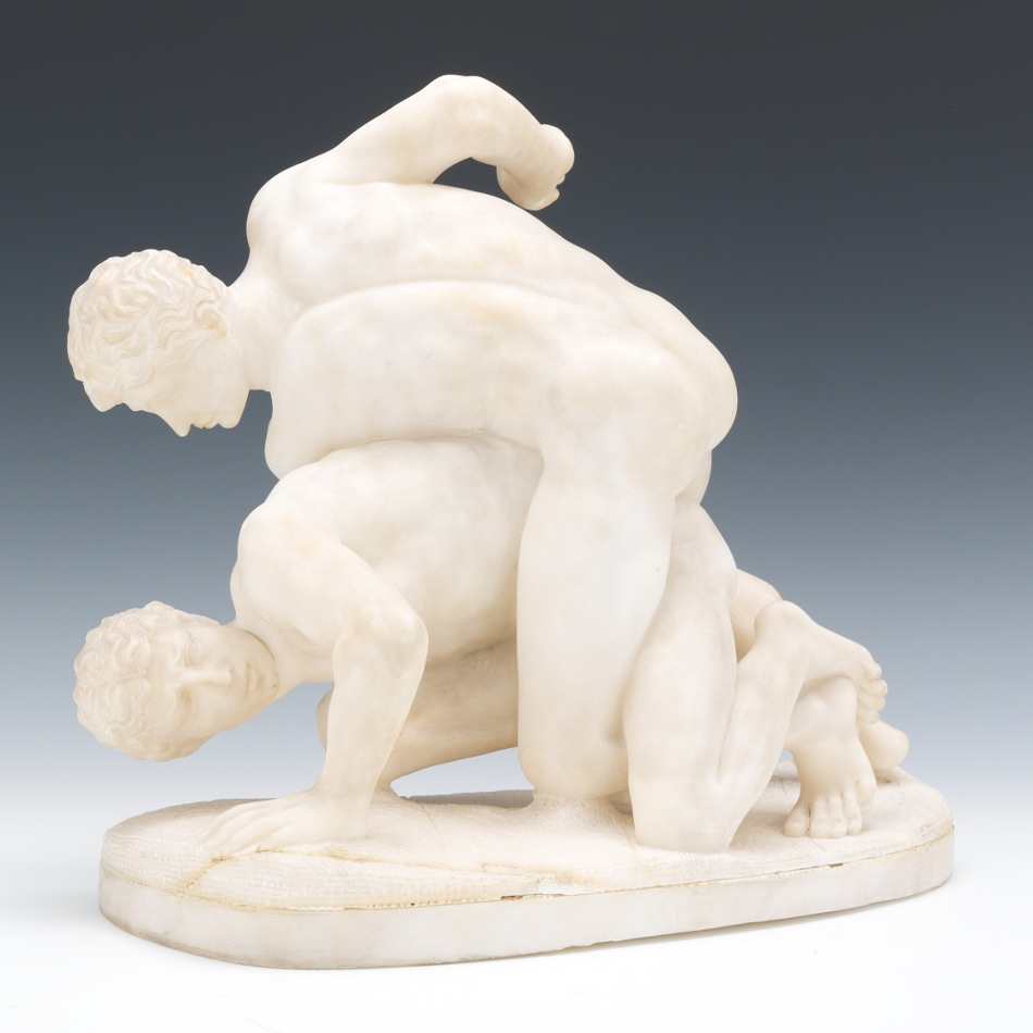 A Carved Alabaster Sculpture Of The Wrestlers After The