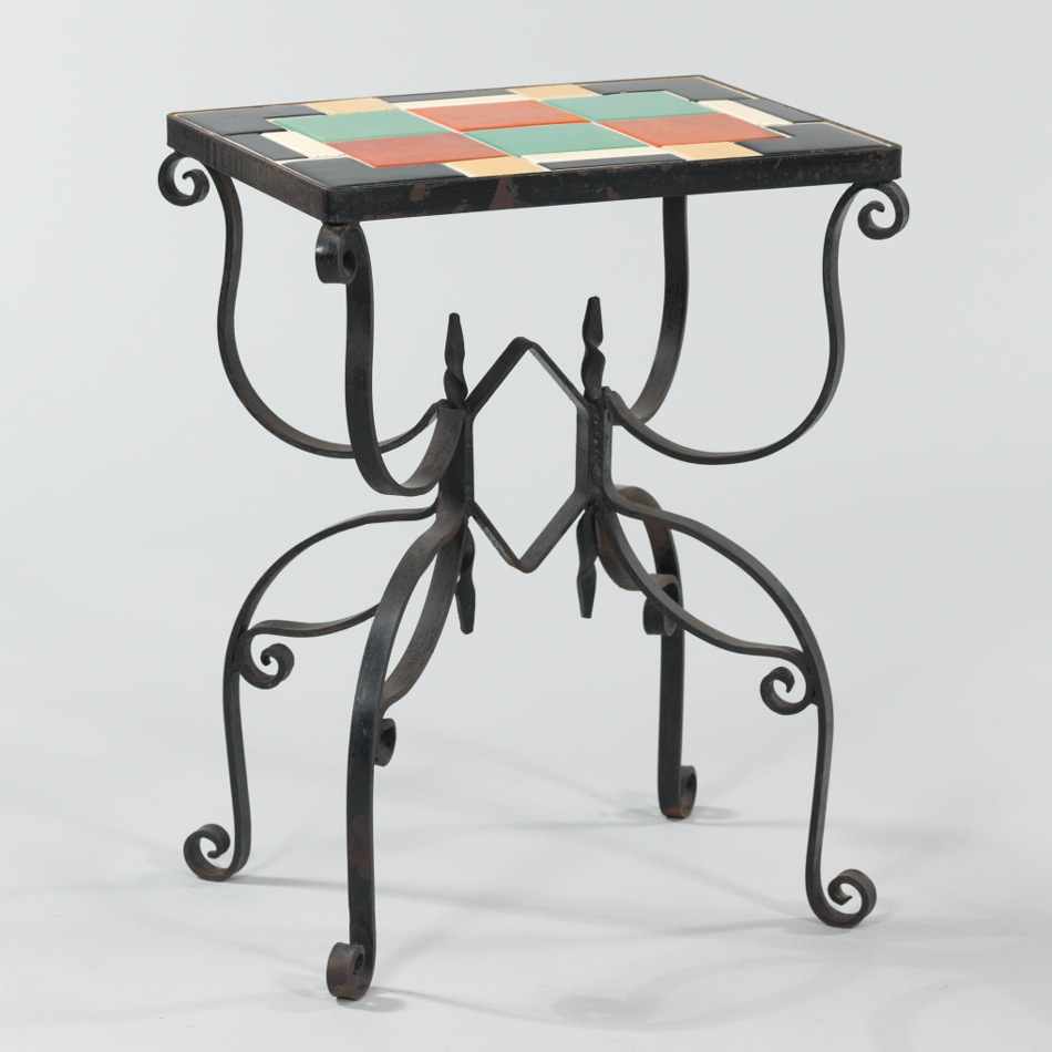 Antique wrought iron table - A Vintage Wrought Iron Tile Top Table