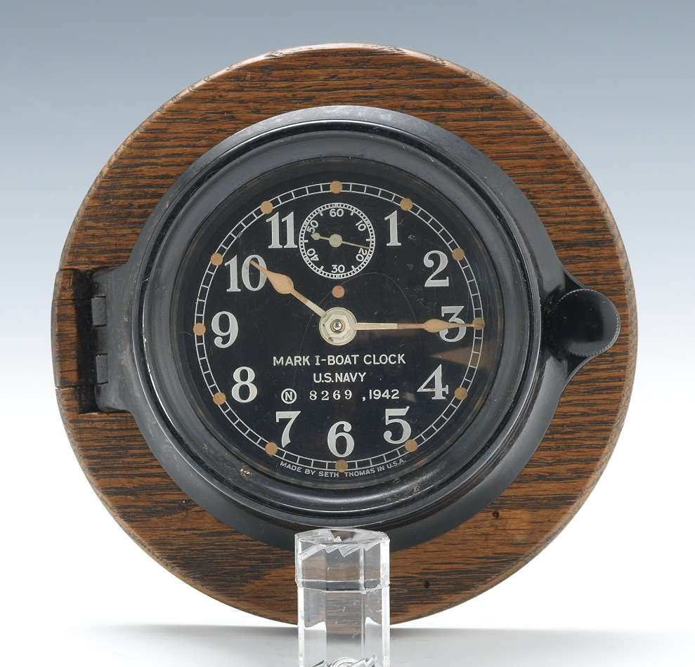 U S Navy Mark 1 Boat Clock 1942 09 06 12 Sold 178 25