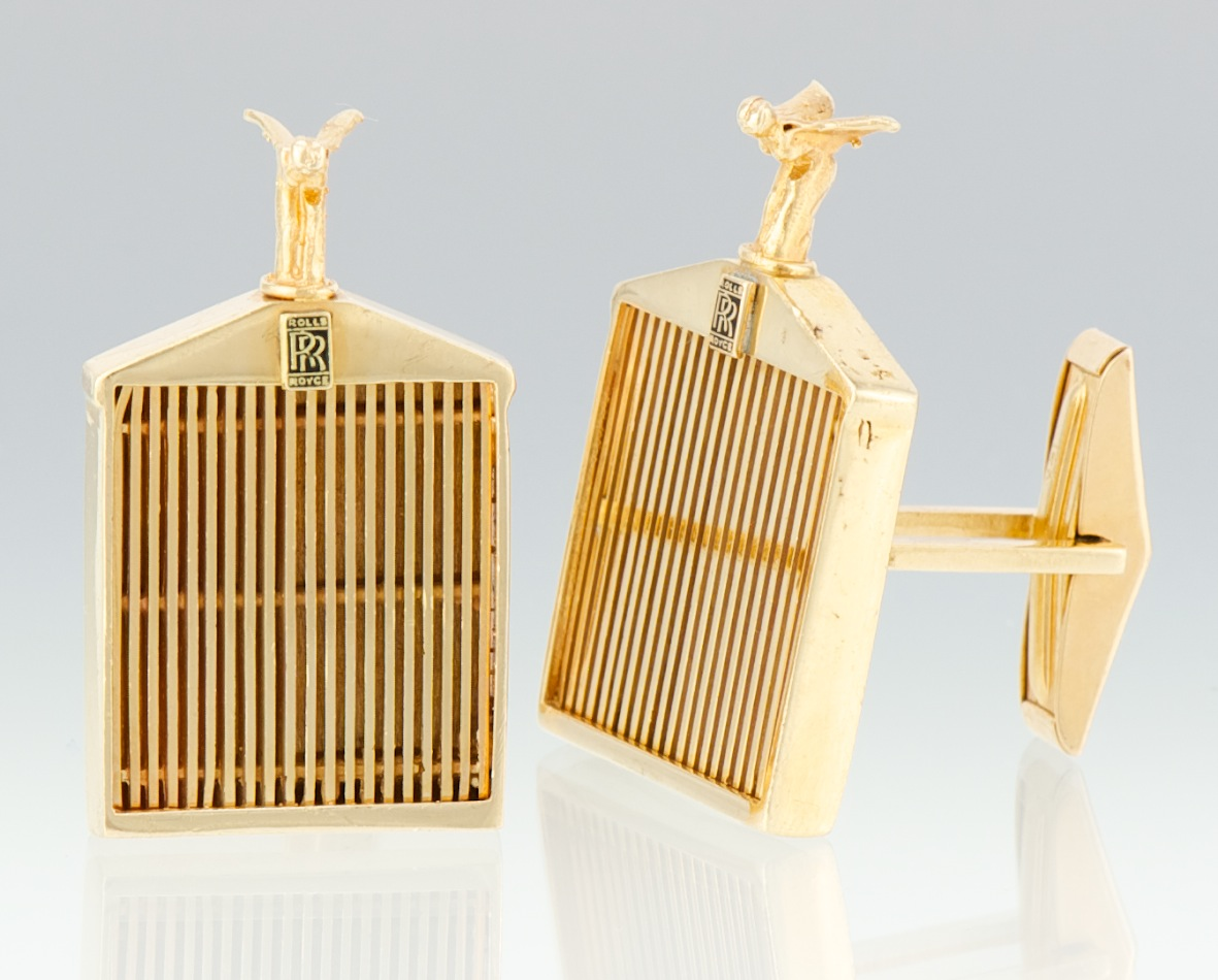 A pair of 14k gold rolls royce cufflinks 090712 sold 8395 a pair of 14k gold rolls royce cufflinks aloadofball Choice Image