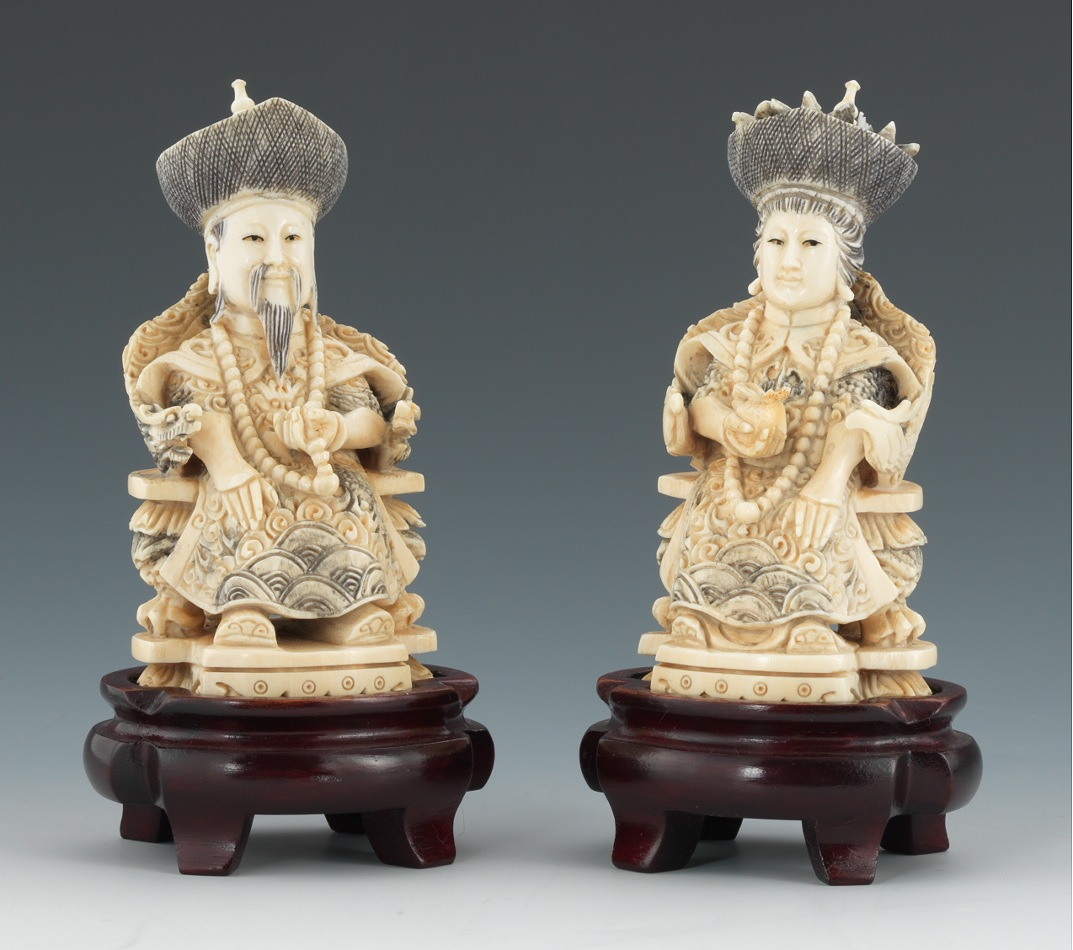 Carved ivory king and queen sold