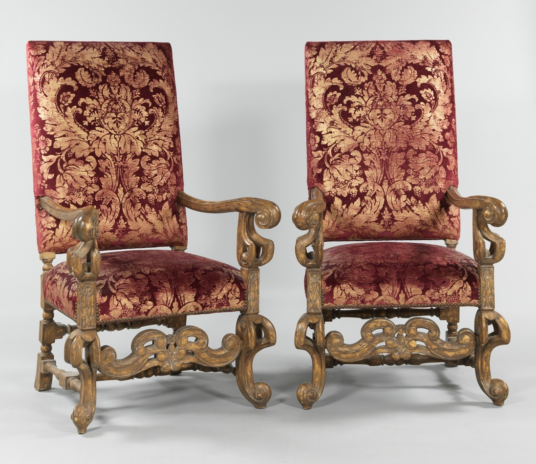 A Pair Of Large Italian Baroque Style Armchairs