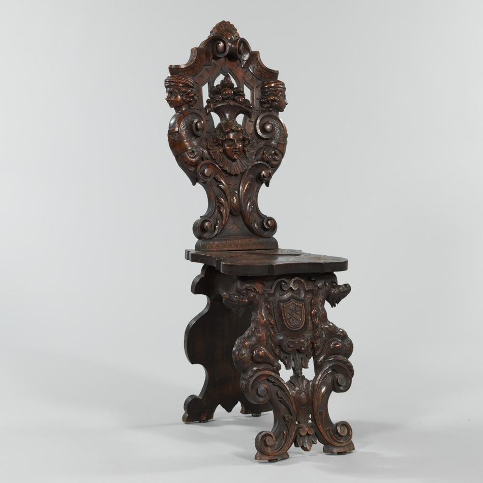 An Italian Renaissance Style Hall Sgabello Chair 09 08 12