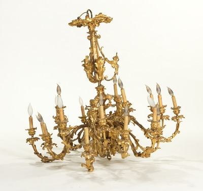 A french gilt bronze rococo style chandelier 101812 sold 2185 a french gilt bronze rococo style chandelier mozeypictures Gallery