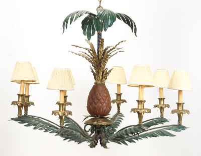 A painted tole type pineapple motif chandelier 101812 sold a painted tole type pineapple motif chandelier aloadofball Choice Image