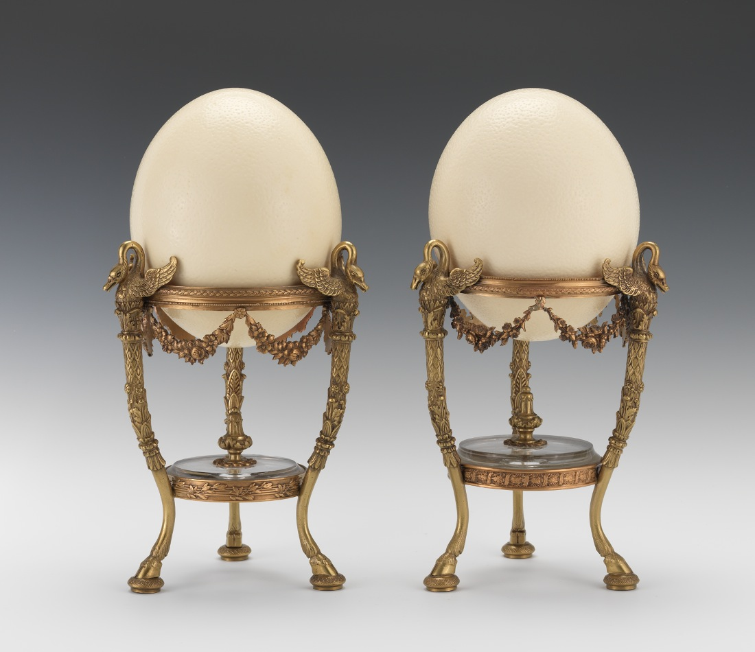 Light Stand For Egg: A Pair Of Ostrich Eggs On French Empire Ormolu Dish Stands