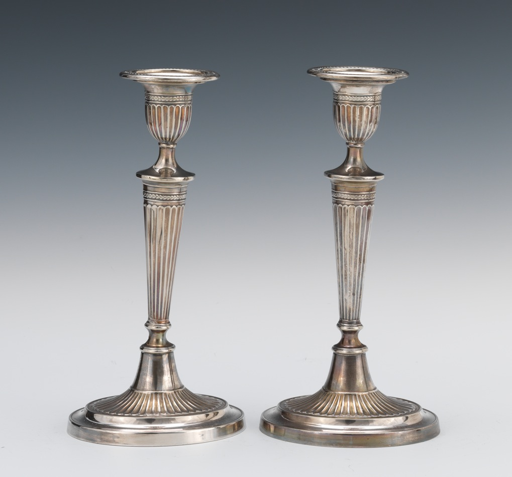 A Pair of Georgian Style Silver Plated Candlesticks. & A Pair of Georgian Style Silver Plated Candlesticks. 10.18.12 Sold ...