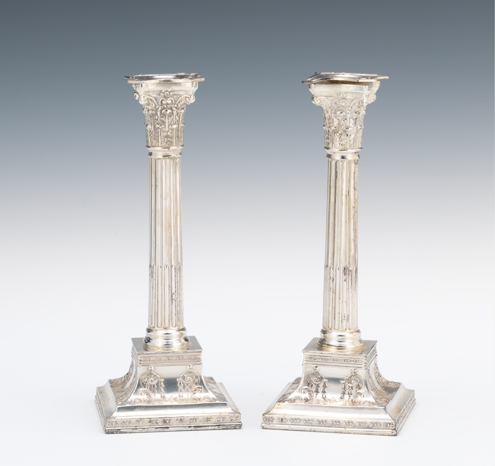 A Pair of Wilcox Georgian Style Silver Plated Candlesticks & A Pair of Wilcox Georgian Style Silver Plated Candlesticks 10.18.12 ...