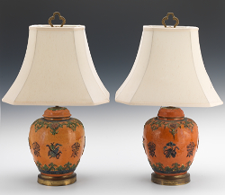 A Pair Of Chinese Pottery Ginger Jar Lamps