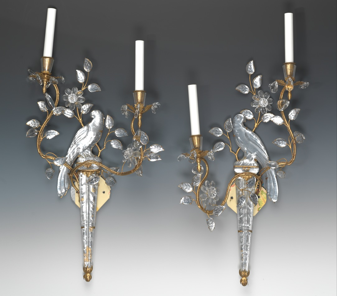 A Pair Maison Bagues Crystal And Gilt Metal Wall Sconces