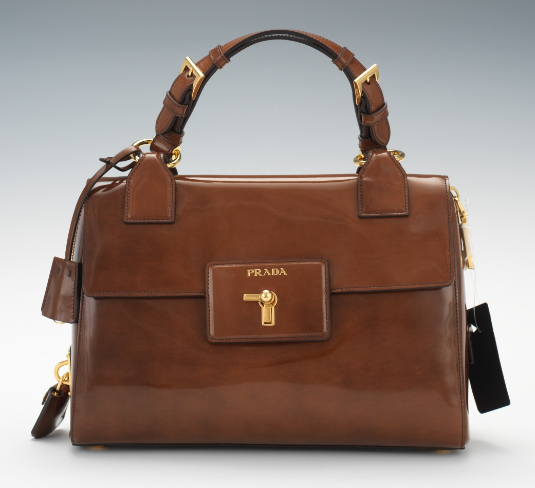"prada red backpack - Prada Tobacco Fume Patent Leather ""Spazzolato Gusset"" Turn Lock ..."