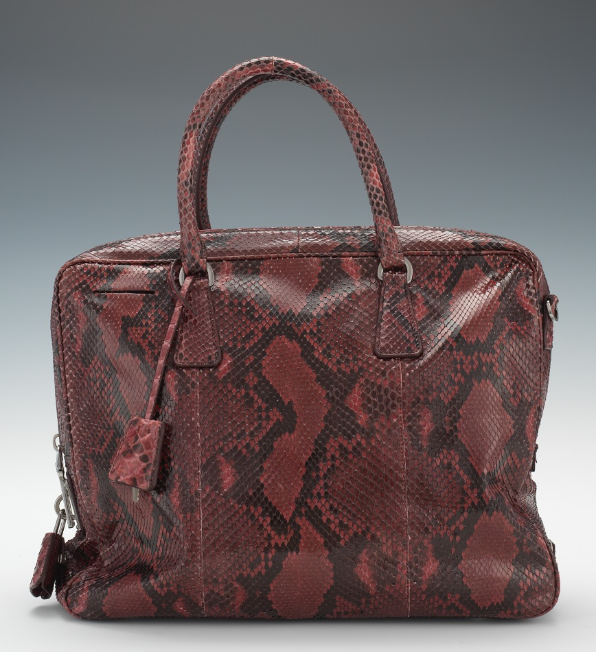 Prada Python Double Top Handle \u0026quot;Bauletto\u0026quot; Bag in Burgundy , 12.13 ...