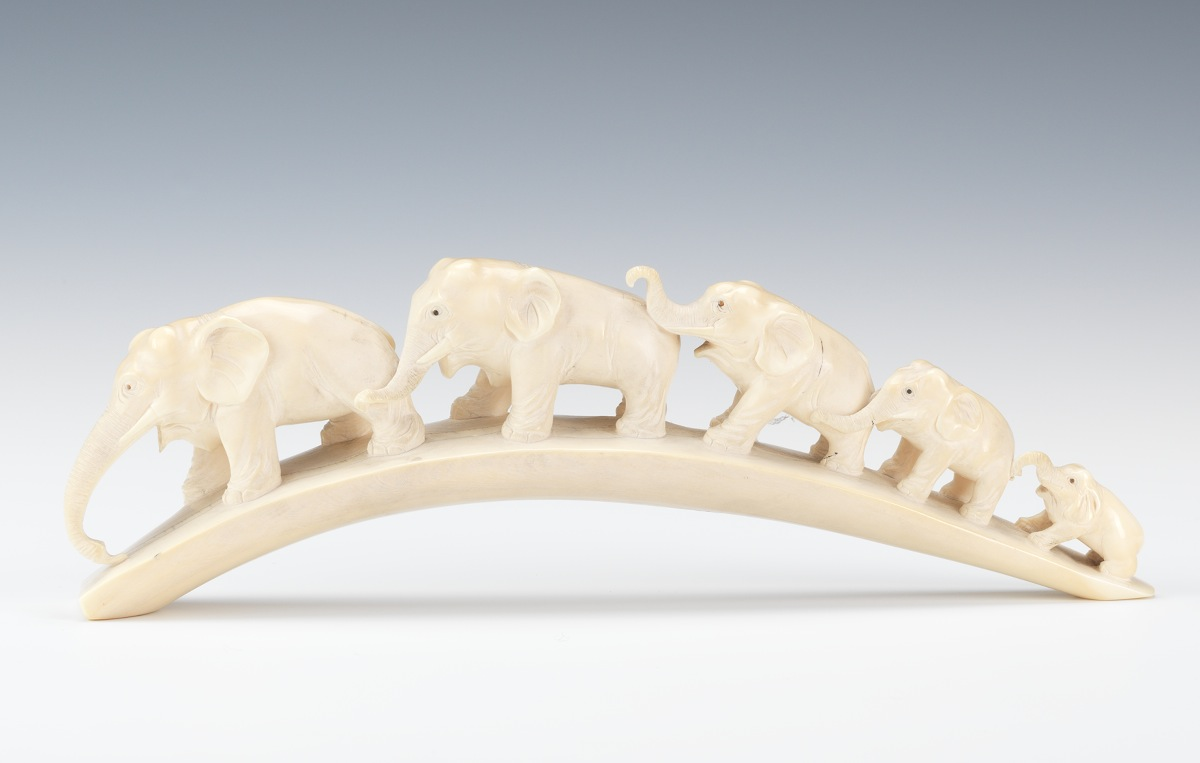Carved Ivory Elephant Tusk Bridge 02 16 13 Sold 241 5