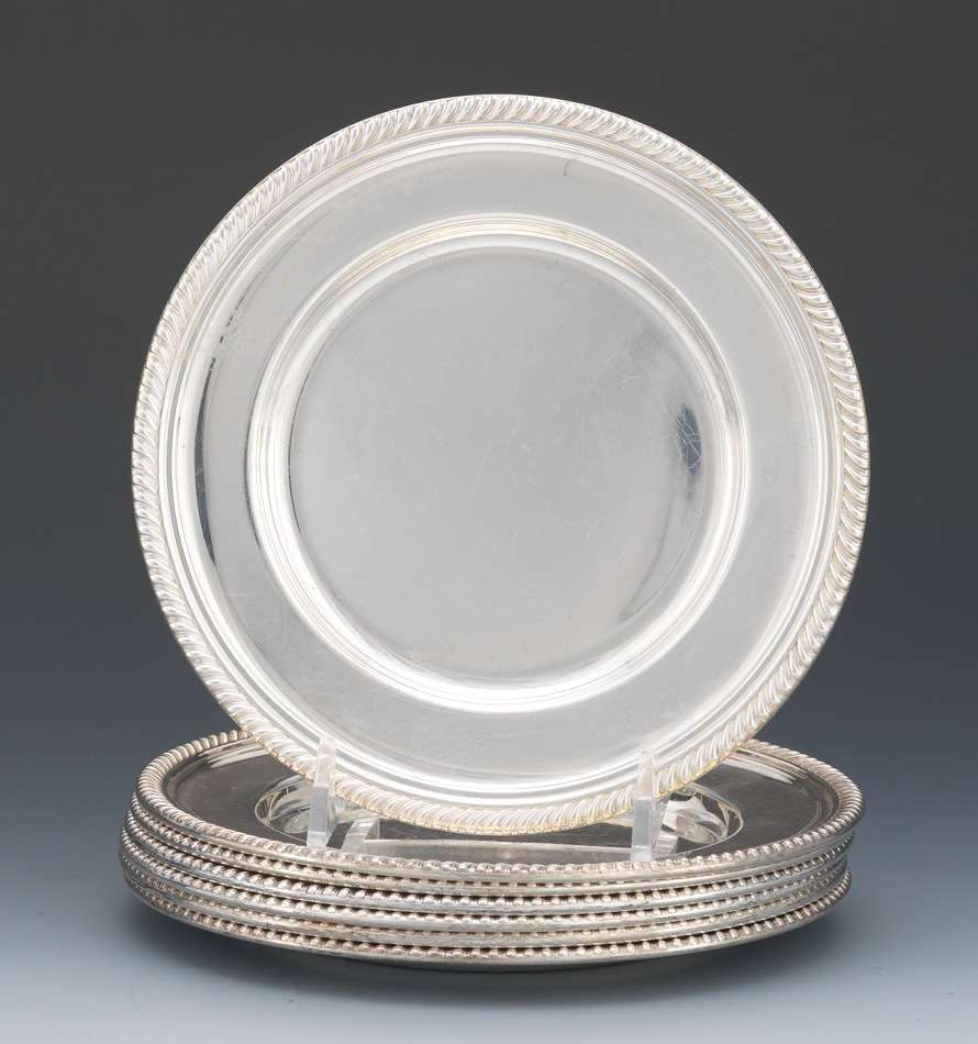 A Set of Seven Gorham Sterling Silver Bread Plates & A Set of Seven Gorham Sterling Silver Bread Plates  03.21.13 Sold ...