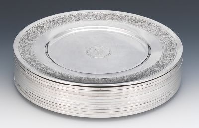 Another Set of Twelve Sterling Silver Dinner Plates by Dominick u0026 Haff ca. 1868 & Another Set of Twelve Sterling Silver Dinner Plates by Dominick ...