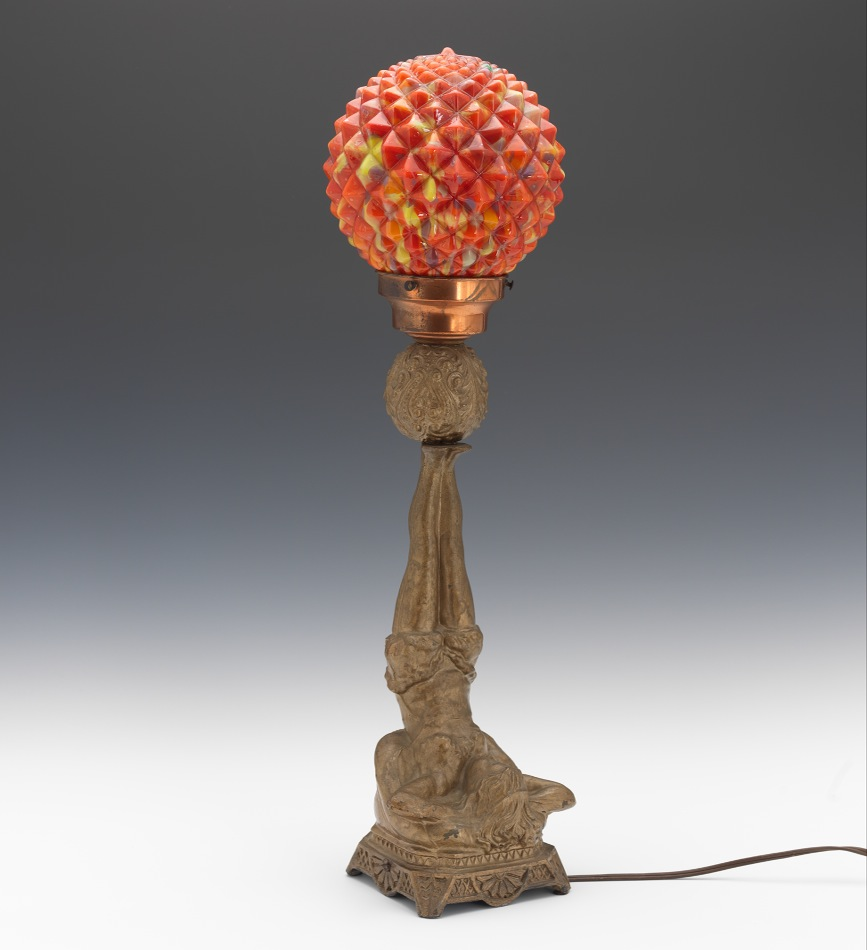 Art Deco Figural Bohemian Glass Globe Lamp 05 25 13 Sold 391
