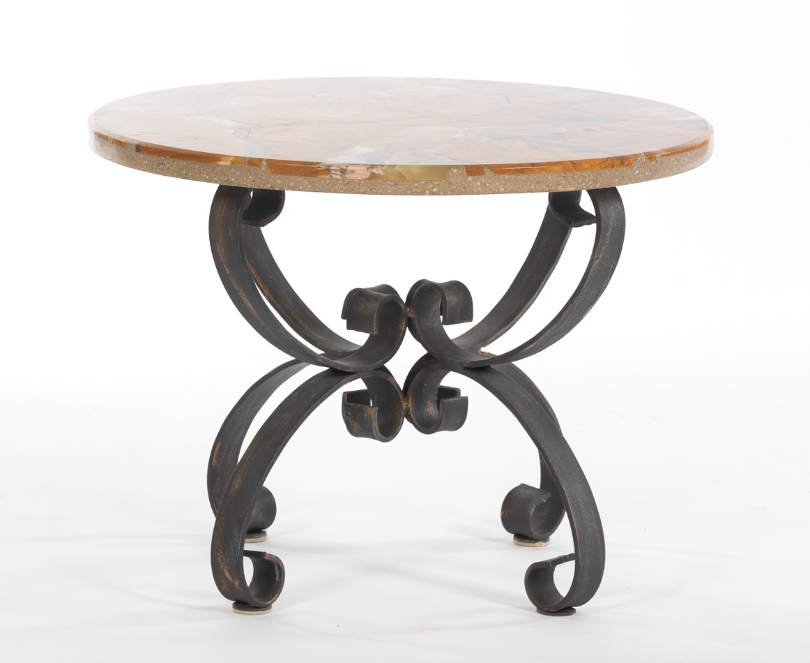 A marble top wrought iron base accent table for Wrought iron table bases marble top