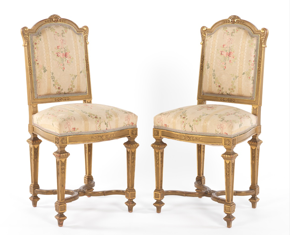 A Pair Of Gilt Carved Wood French Louis XVI Style Ballroom Chairs