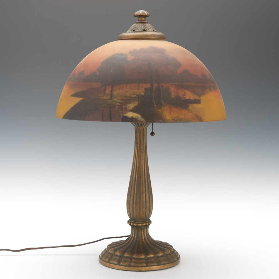 Reverse Glass Painted Lamp