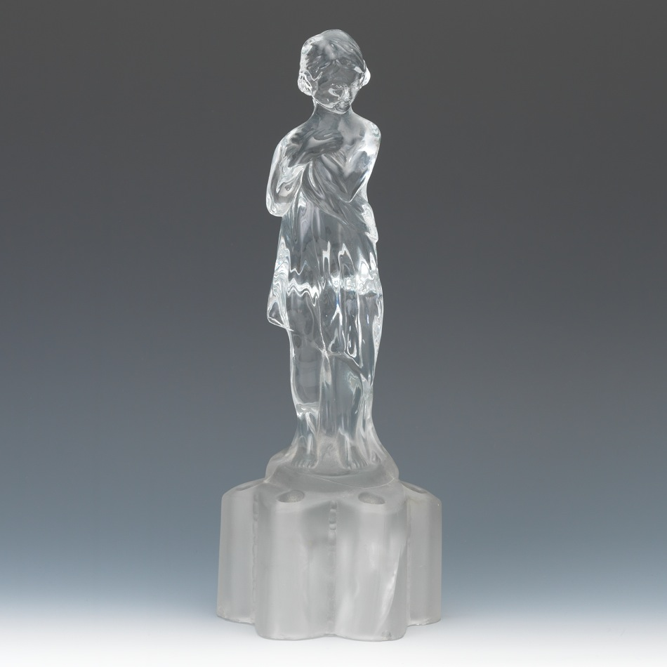 a cambridge glass draped lady flower frog ca 1927 29 - Cambridge Glass