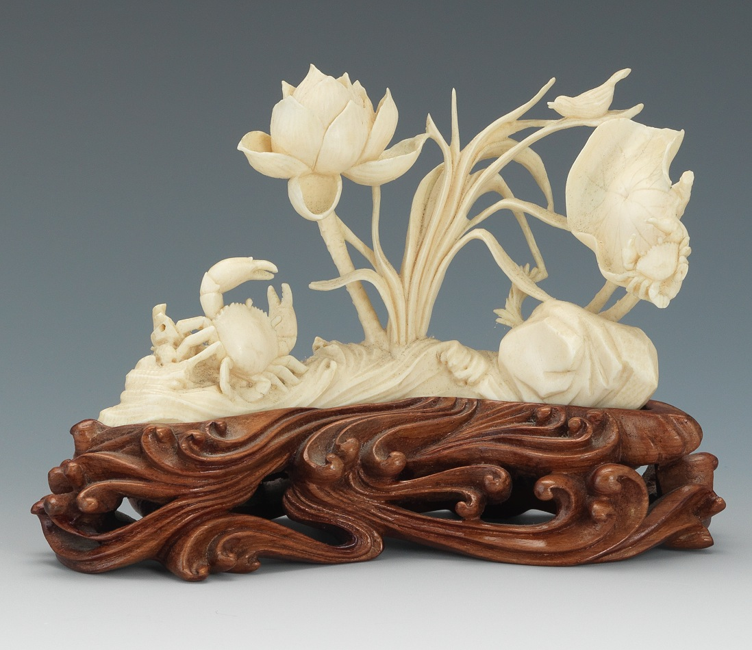 Carved ivory crab lotus flower display th century