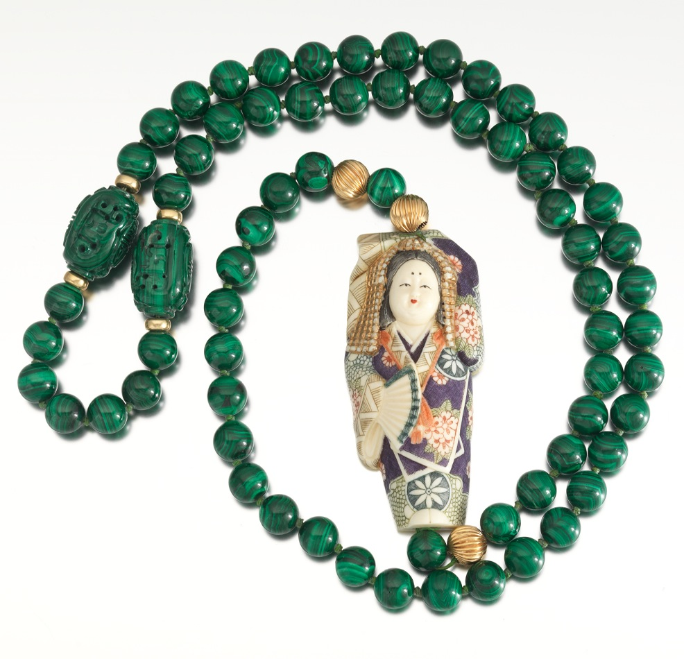 a japanese carved ivory and malachite bead necklace 10 25 13