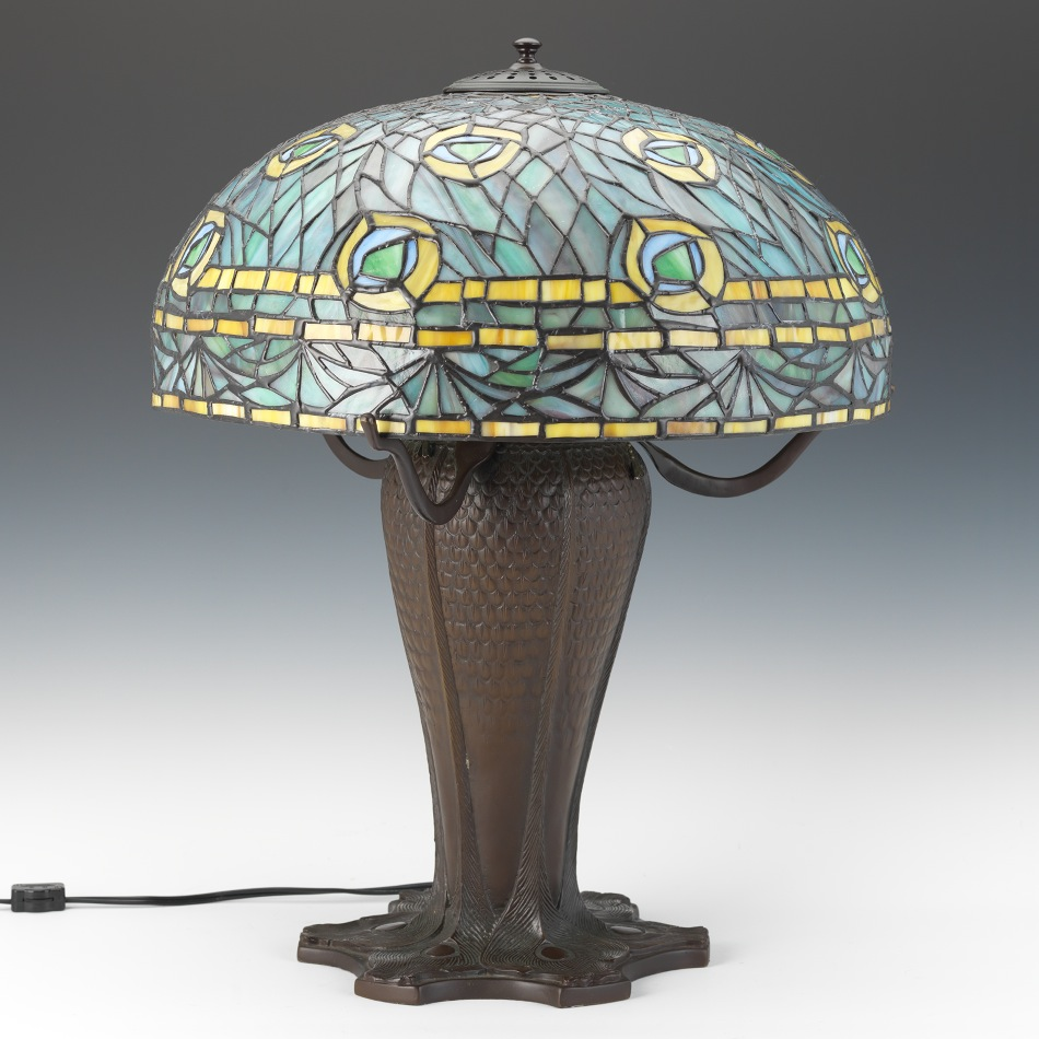 Reproduction Tiffany Leaded Glass Peacock Lamp, 09.21.13, Sold: $264.5