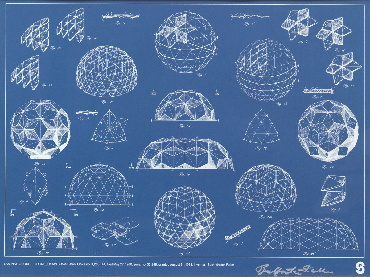 A Signed Buckminster Fuller Geodesic Dome Blueprint 09 19